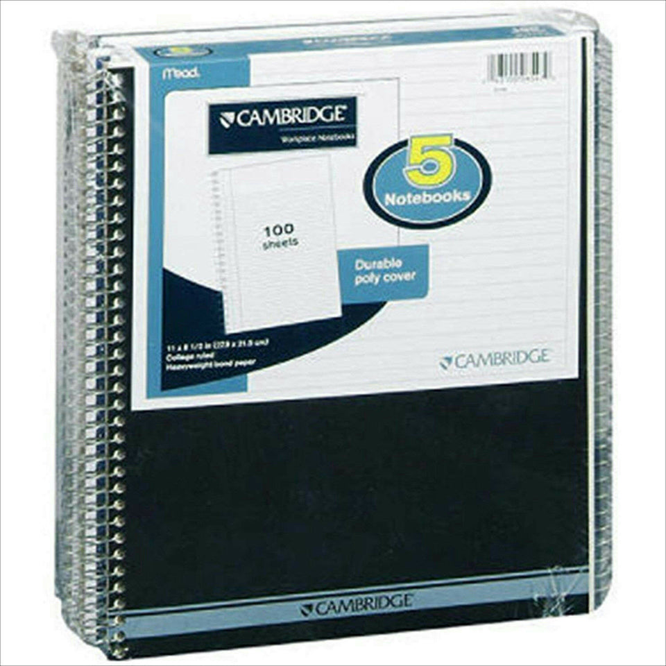 "Mead Cambridge *Pack of 5* College Ruled 8.5"" x 11"" Notebooks 100 Sheets B-106"