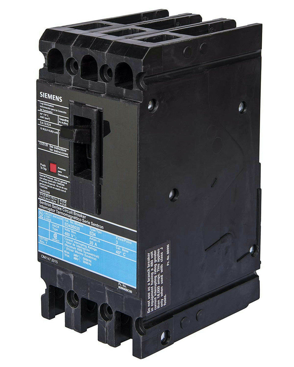 Siemens ED43B080L Sentron Series Molded Case Circuit Breaker 3 Pole 80A 480V