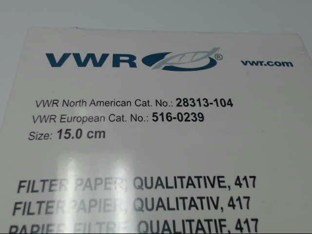 VWR 417 Qualitative 15.0 cm Filter Paper 28313-104 Pack of 50 516-0239 Free Ship
