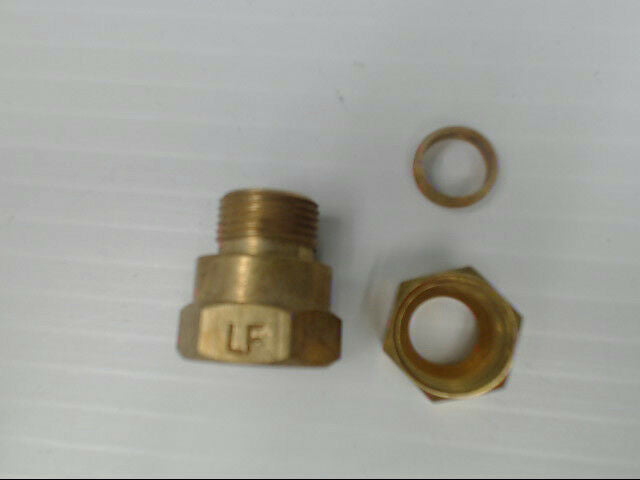 "Brass P-66-66-LF Tube to Female Straight Pipe 3/8"" x 3/8"" Adapter Fitting Qty 10"