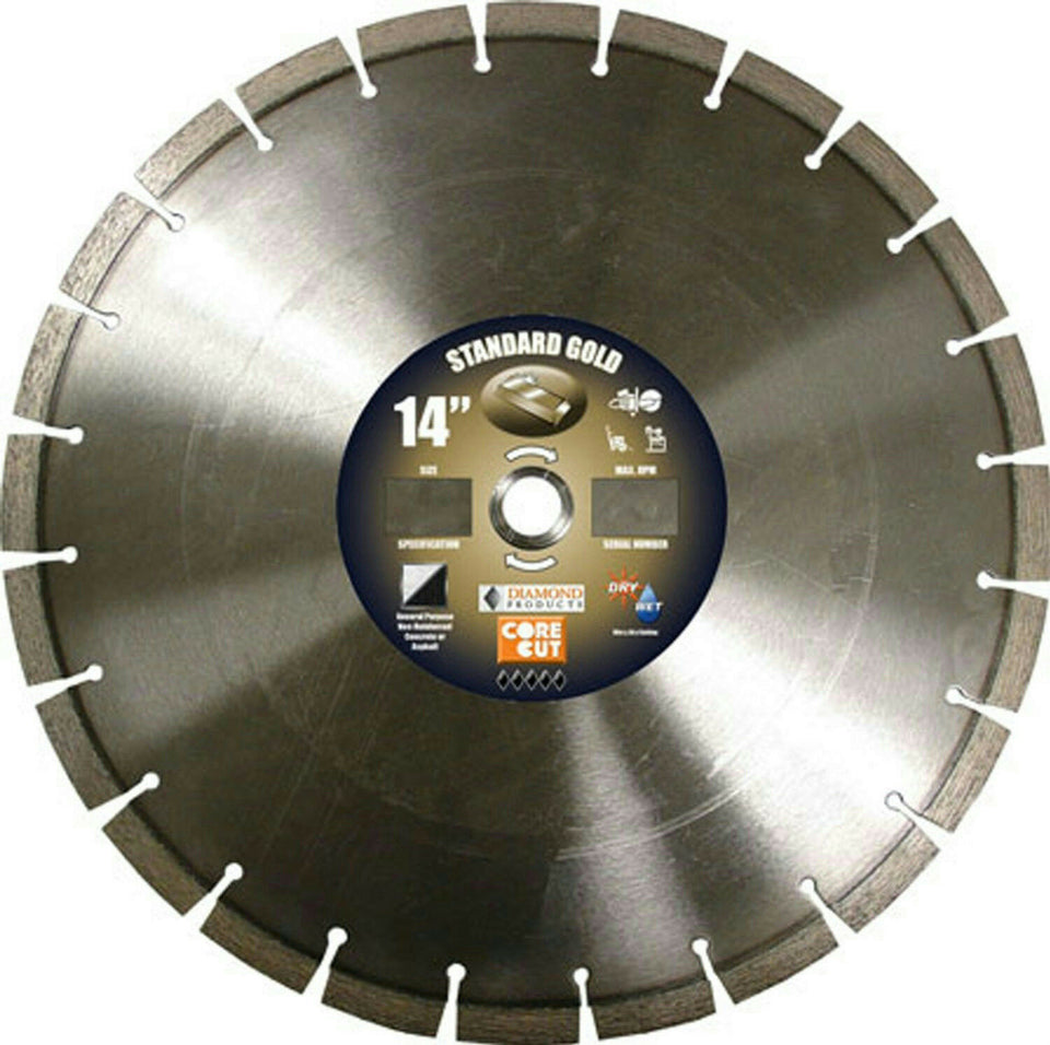 "Diamond 57721 Standard Gold 14"" High Speed Diamond Saw Blade Concrete"
