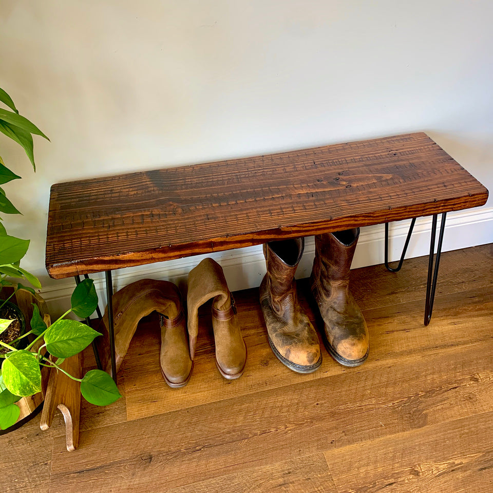 ThorWoods Handmade Rustic Distressed Real Wood Entryway Bench with Hairpin Legs