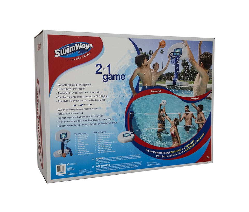 Swimways 2-in-1 Volleyball And Basketball Swimming Pool Water Game Set 00381
