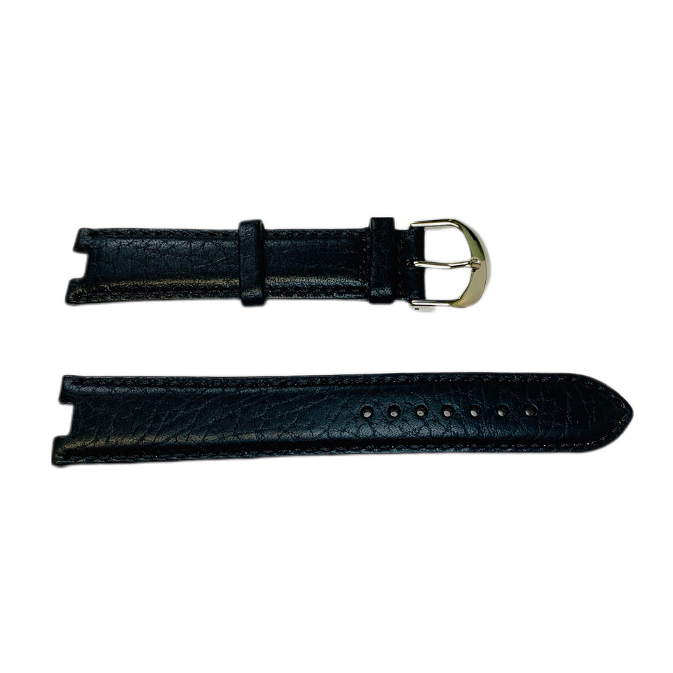 Steinhausen BO Black Leather Silver Men's Watch Band