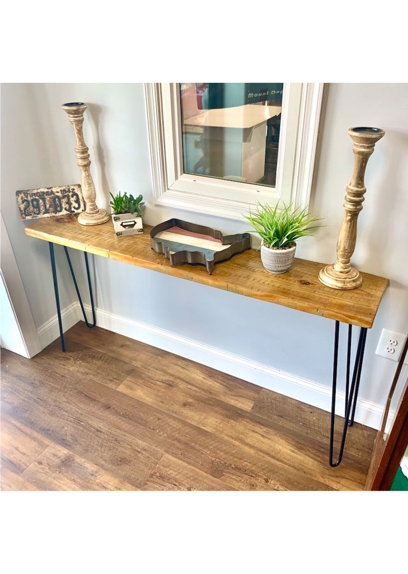 ThorWoods Handmade Rustic Distressed Real Wood Console Table with Hairpin Legs