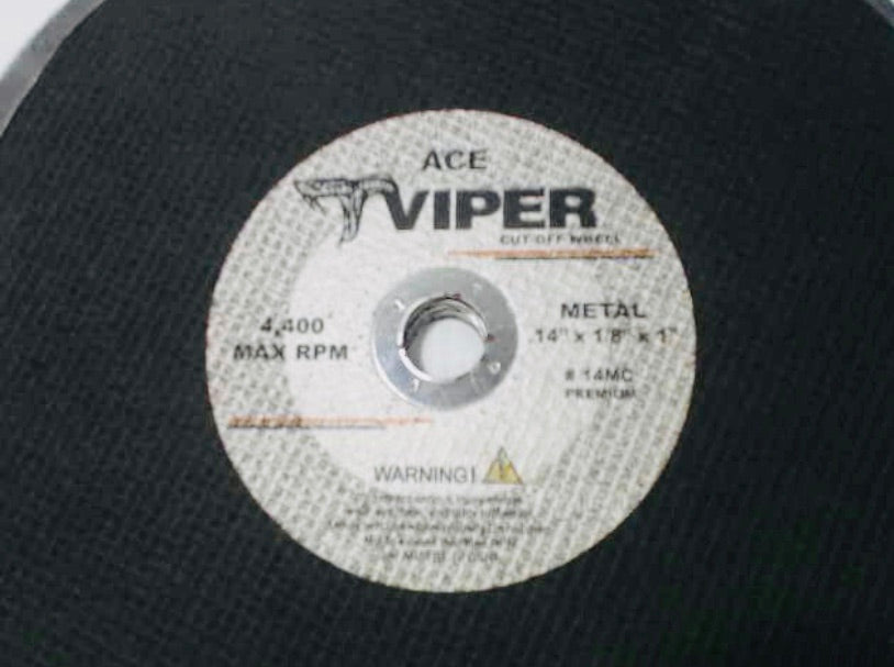 "Ace Viper 14"" Cut Off Wheel 4,400 Max RPM Metal 14"" x 1/8"" x 1"" 14MC *Pack of 5*"
