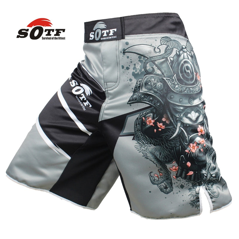SOTF men's Japanese warrior gray sports fitness angle pants Tiger Muay Thai boxing shorts mma short kickboxing  boxeo pretorian - piranhagym