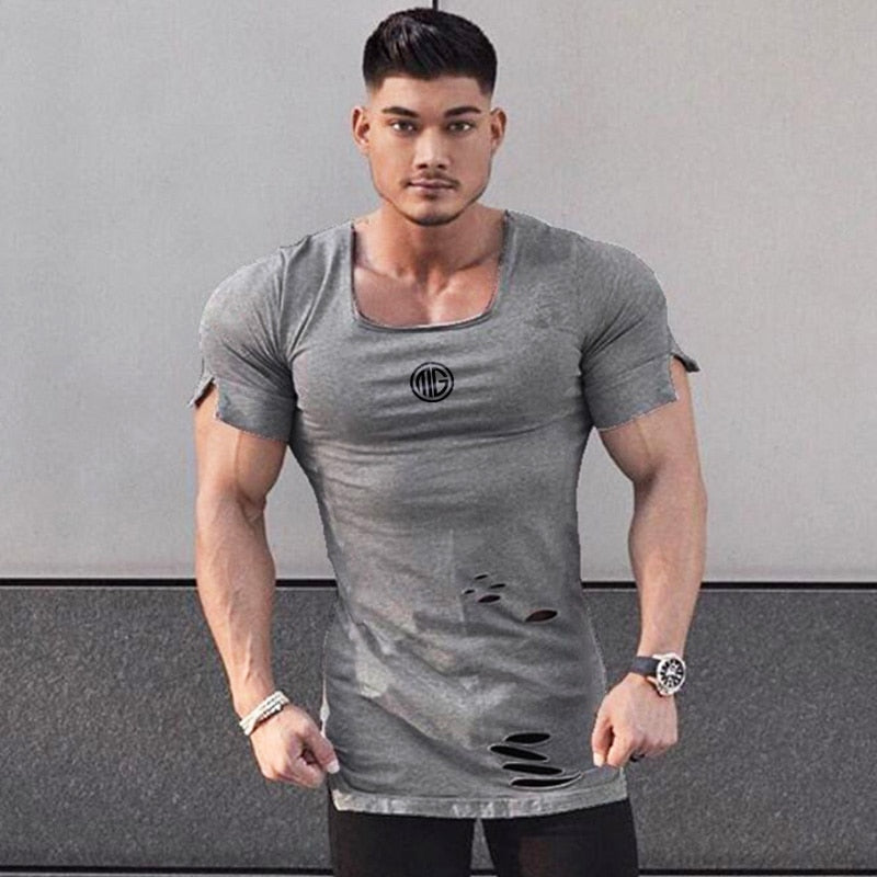 New 2019 Cotton Men's T shirt Vintage Ripped Hole T-shirt Men Fashion Casual Top Tee Men Hip Hop Activewears Fitness Tshirt Male - piranhagym