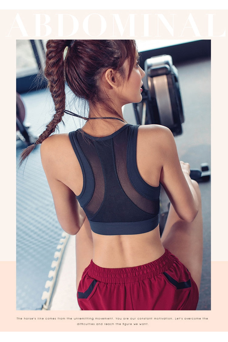 Mesh Sports Bra Plus Size For Fitness Crop Tops Women High Support Yoga Bra Padded Workout Shockproof Gym Brassiere Active Wear - piranhagym
