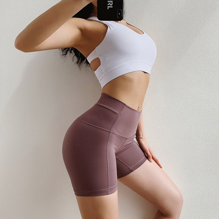 women push up yoga shorts high waist tummy control fitness  short workout sportswear sexy push up yoga shorts - piranhagym