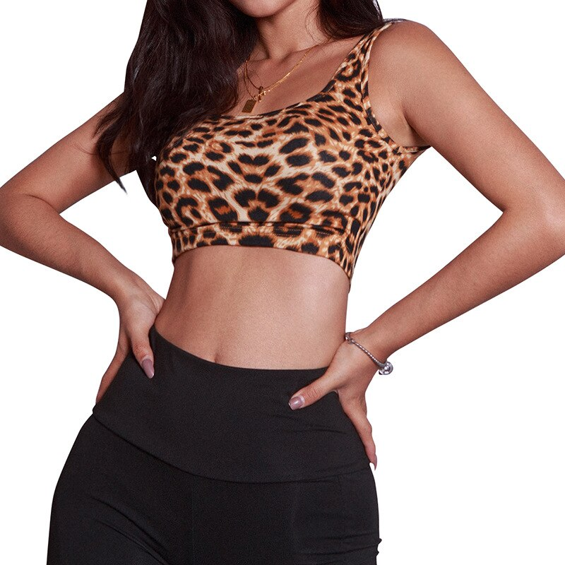 MyZyQg Spring Sexy Leopard Sport Bra Top Women Running Fitness Yoga Bra Gym Active Wear Workout Bra Sportswear No Steel Ring - piranhagym