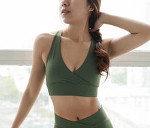 Load image into Gallery viewer, Deep V High Support Sportsbra Open Back Mesh Yoga Bra Army Green fitness gym bra women's workout tank tops active wear