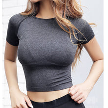 Load image into Gallery viewer, Short Sleeve Crop Top Soft Fitness Fabric Women Gym Yoga Clothing 3 Colors