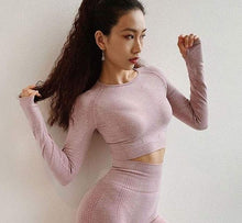 Load image into Gallery viewer, Vital Seamless Long Sleeve Thumb Hole Crop Top Yoga Shirt for Women Gym Workout Fitness Shirts