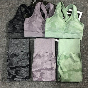 Seamless Camo 2 Piece Set Women Fitness Yoga Sports Bra High Waist Leggings SQUAT PROOF 3 Colors