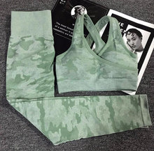 Load image into Gallery viewer, Seamless Camo 2 Piece Set Women Fitness Yoga Sports Bra High Waist Leggings SQUAT PROOF 3 Colors