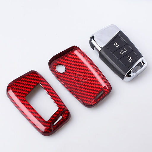 Carbon Fiber Car Key Shell Cover Case For Volkswagen MAGOTAN Tiguan MK2 2017 2018 2016 Passat B7 B8 CC For Skoda Superb A7