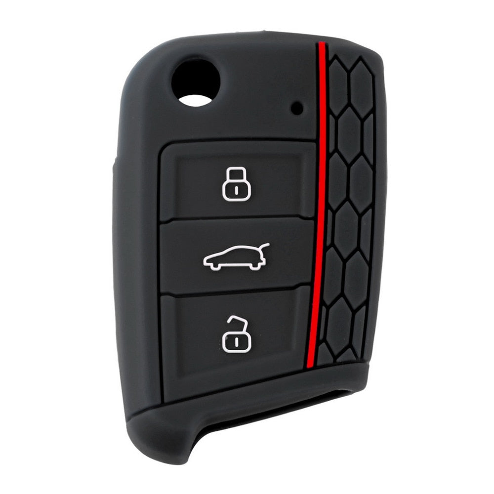 254 - Volkswagen Polo / Golf Silicone GTI Colour Key Cover (Small Key Bottom)