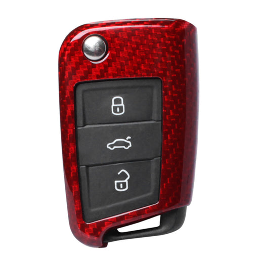 Genuine Red Carbon Fibre Key Cover For Volkswagen/Skoda/SEAT - Diversion Stores Car Parts And Modificaions