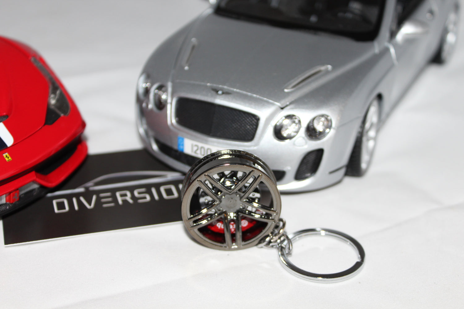 of Chrome Black Alloy Wheel Keychain - 10 Spoke - Diversion Stores Car Parts And Modificaions