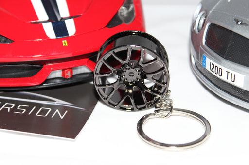 Chrome Black Alloy Wheel Keychain - 14 Spoke - Diversion Stores Car Parts And Modificaions