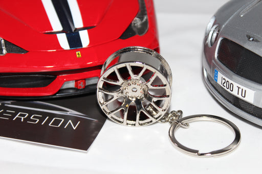 Chrome Silver Alloy Wheel Keyring -  14 Spoke - Diversion Stores Car Parts And Modificaions