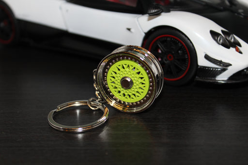 BBS Style Car Alloy Wheel Keyring - Lime Green