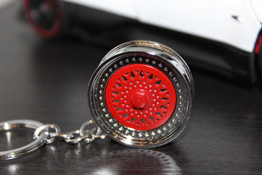 BBS Style Car Alloy Wheel Keyring - Red