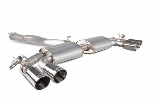 Scorpion Audi S3 2.0T 8V (Saloon) Non-Resonated Cat-Back Exhaust with Electronic Valves- Polished Quad Daytona Tips – SAUS051D