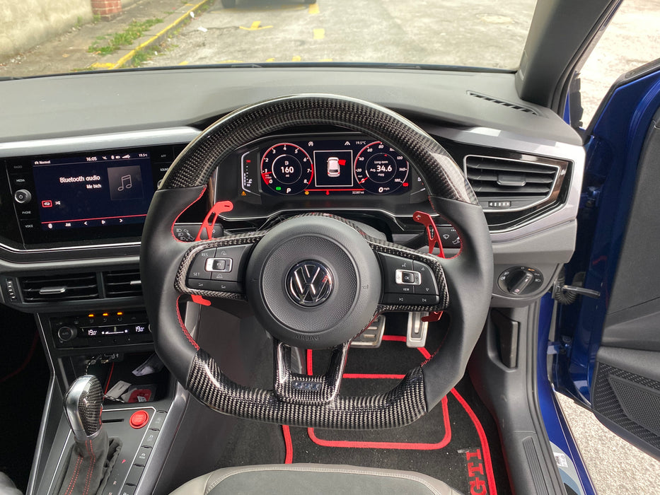 Volkswagen Polo MK6 AW GTI / R-line Carbon Fibre Steering Wheel (CUSTOM / 2018 - Present)