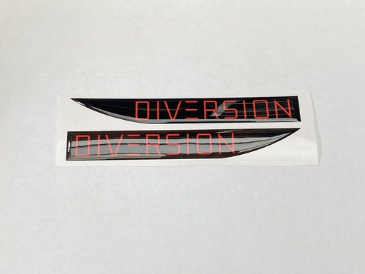 Volkswagen Style 'DIVERSION' RED / Black Side Repeater Gel Badges