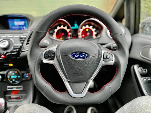 Ford Fiesta Full Leather Custom Steering Wheel (MK7 / MK7.5 - 2009 to 2017)