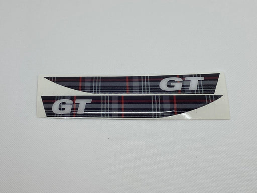 Volkswagen 'GT' Tartan / White Side Repeater Gel Badges (PAIR)