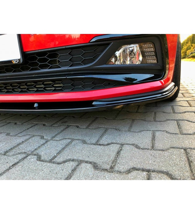 Volkswagen Polo AW GTI/R LINE Front Splitter Gloss Black (2018 - UP) - Diversion Stores Car Parts And Modificaions