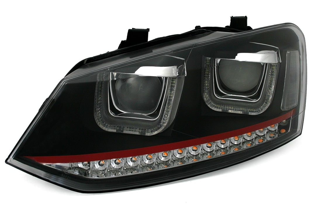 156 - VOLKSWAGEN POLO 6C/6R LED DEVIL HEADLIGHTS - BLACK CASING / RED LINE (2009-2017 MODELS) - Diversion Stores Car Parts And Modificaions