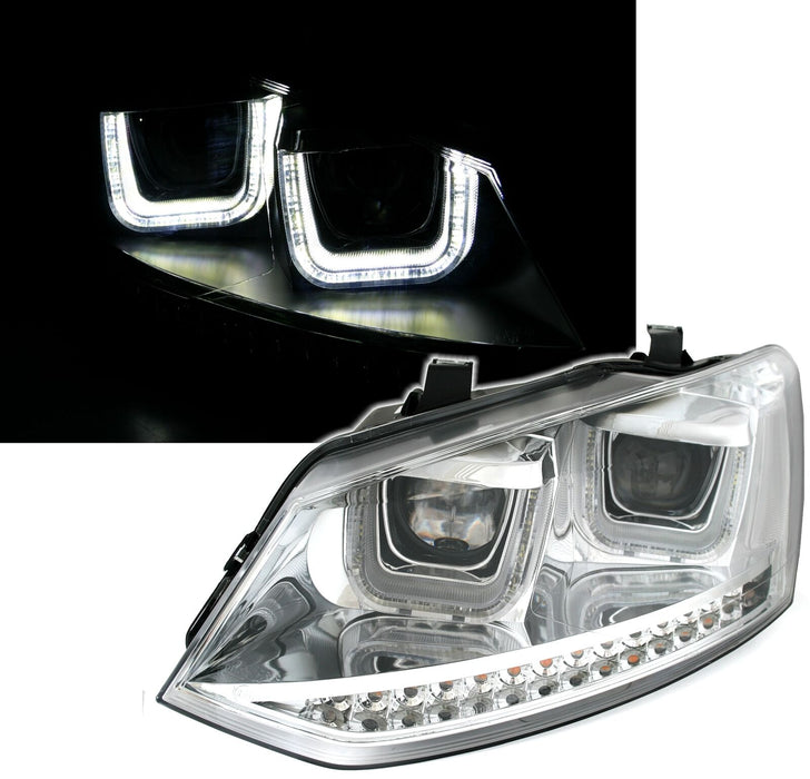 051 - Volkswagen Polo 6C/6R LED Devil Headlights - Silver Casing (2009-2017 MODELS) - Diversion Stores Car Parts And Modificaions