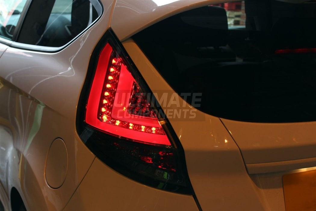 158 - Ford Fiesta MK7.5 LED Custom Tail Lights (2013-2017) SMOKED - Diversion Stores Car Parts And Modificaions