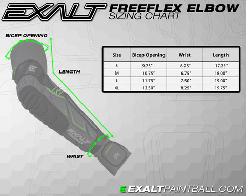 Exalt-Free-Flex-Paintball-Elbow- Pad-Sizing-Chart