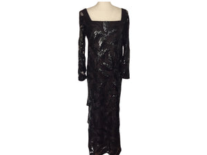 Vintage Custom - Black Sequin Gown