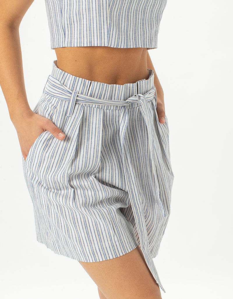 High Rise Pleat Short Blue Stripe - Sale