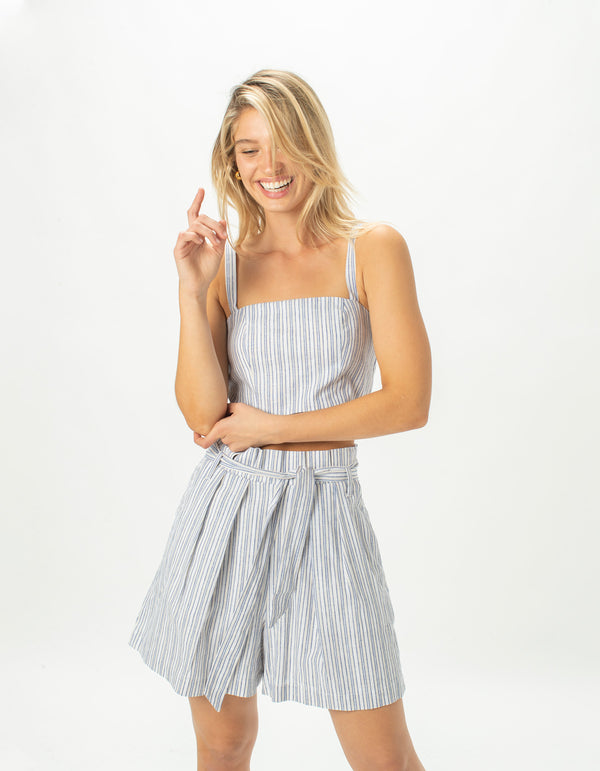 High Rise Pleat Short Blue Stripe