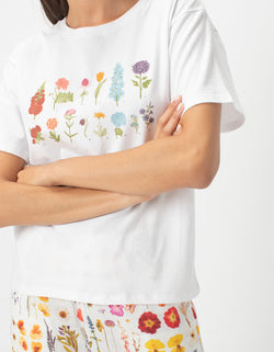 Sunday Tee White Flowers