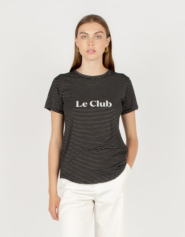 Le Club Classic Tee Black Stripe - Sale