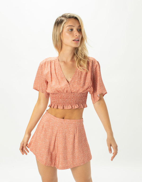 Ruched Top Terracotta