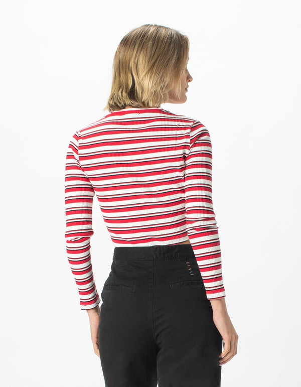 High Neck Rib Long Sleeve Red Stripe - Sale