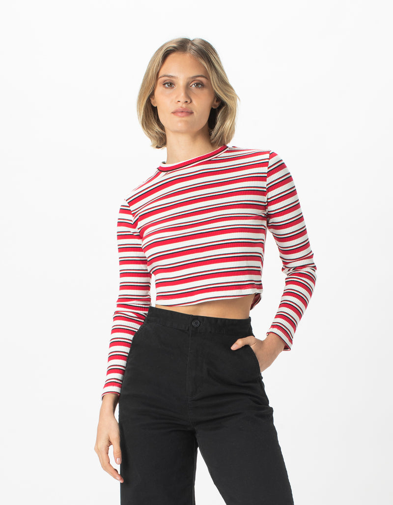 High Neck Rib Long Sleeve Red Stripe
