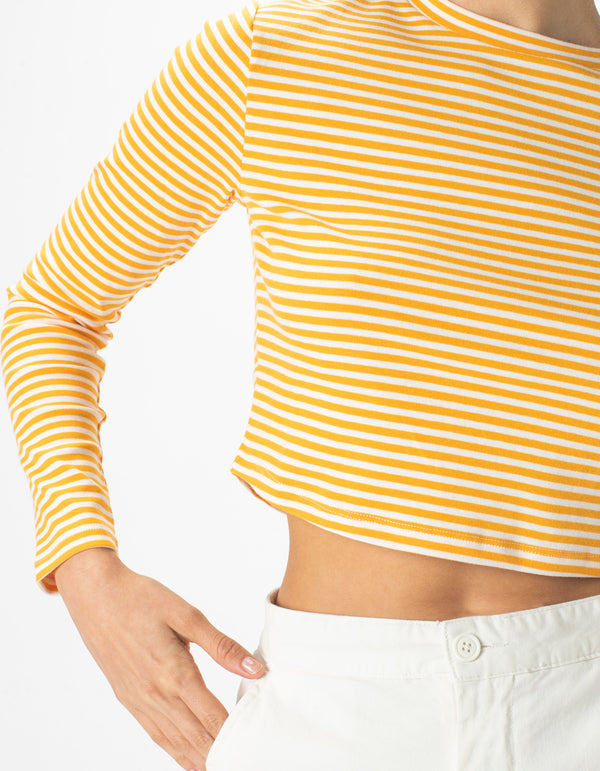 High Neck Rib Long Sleeve White Stripe