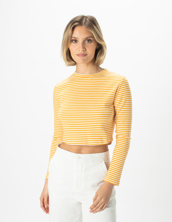 High Neck Rib Long Sleeve White Stripe - Sale