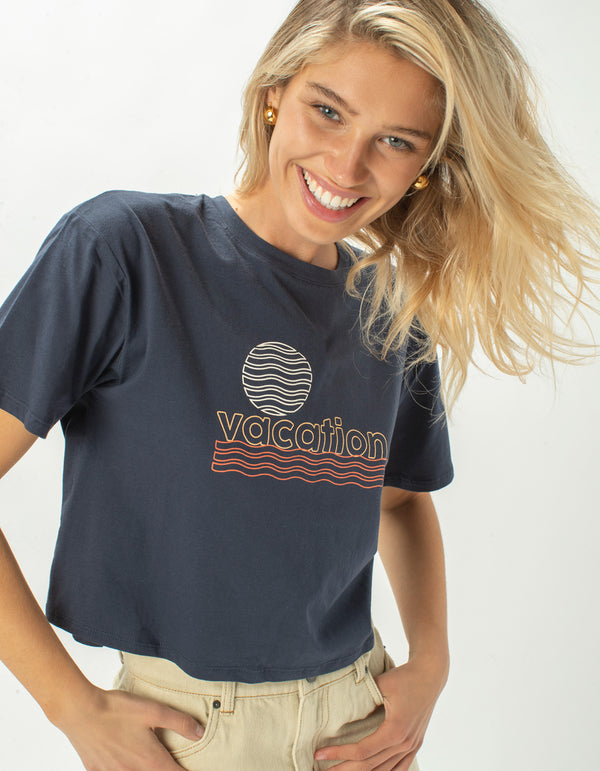 Vacation Homegirl Tee Navy - Sale
