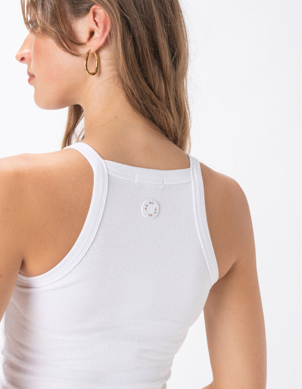 Badge Rib Crop Tank White